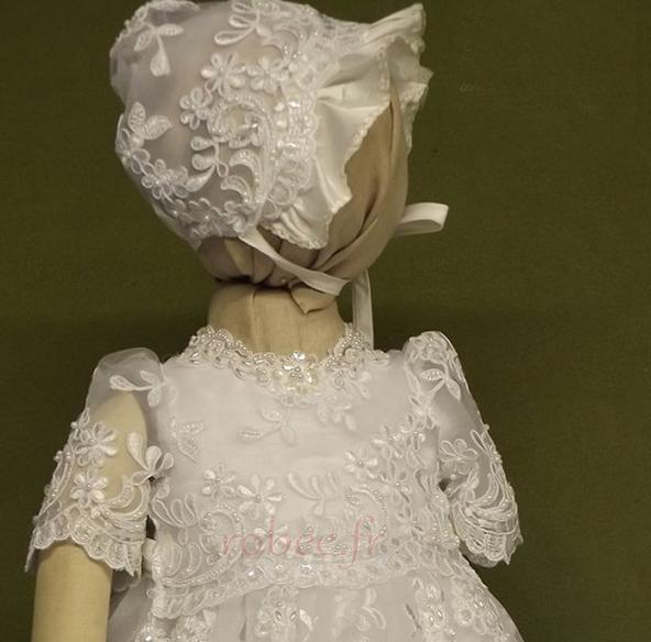 Robe de fille de fleur Cérémonie Bébé Dentelle Manche Courte 3