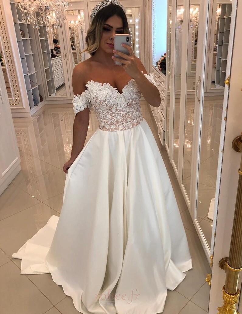 Robe de mariée Formelle Longue Mancheron Naturel taille Sans Manches 1