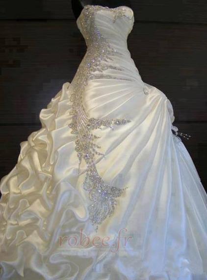 Robe de mariée Hiver Scintillait Princesse Asymétrique Satin 1