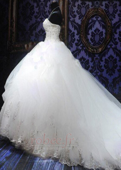 Robe de mariée Tulle Col en Cœur Eglise Sans Manches Ancien Cristal 2