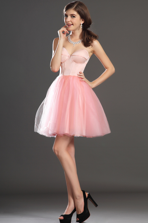 Robe de bal Tulle Mode Sablier Perle rose Col en Cœur Sans Manches 5