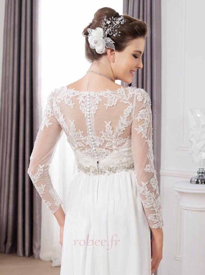 Robe de mariée Sexy Empire Traîne Courte Haut Bas Taille haute 4