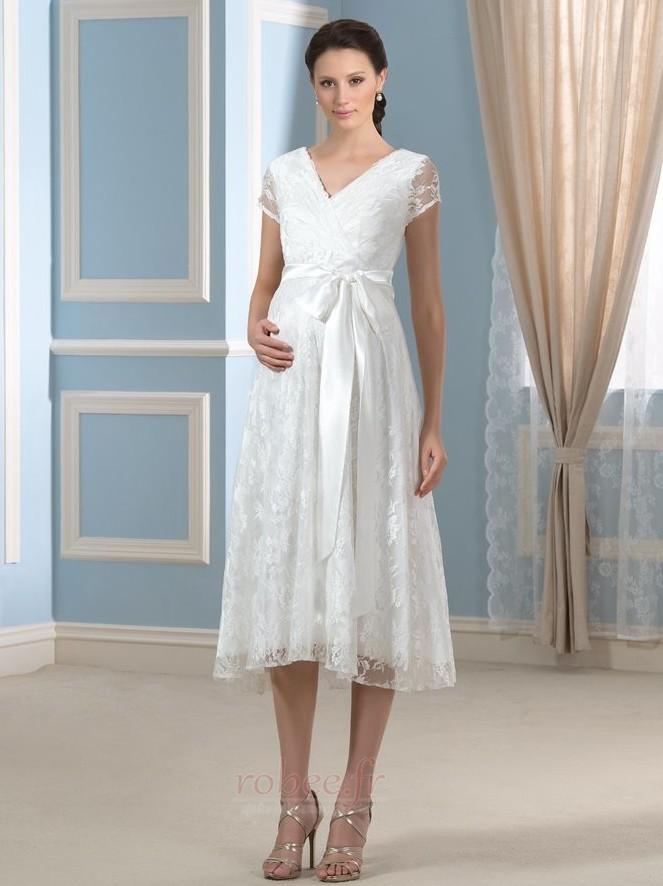 Robe de mariée Dentelle Luxueux Longueur de genou Taille haute 1
