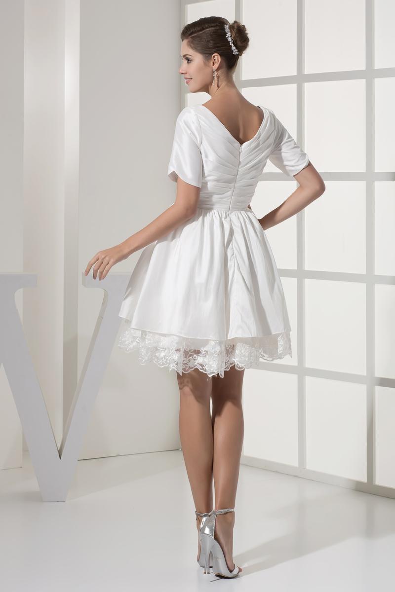 Robe de mariée Courte Haute Couvert Col en V Foncé Naturel taille 2