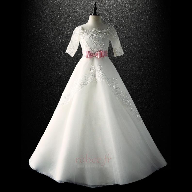 Robe de fille de fleur Cérémonie Laçage Orné de Nœud à Boucle 4