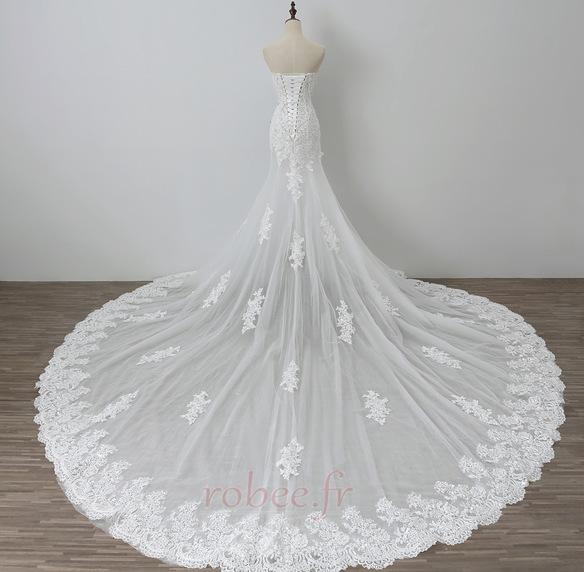 Robe de mariée Tulle Norme Automne Dépouillé Elégant Lacez vers le haut 2