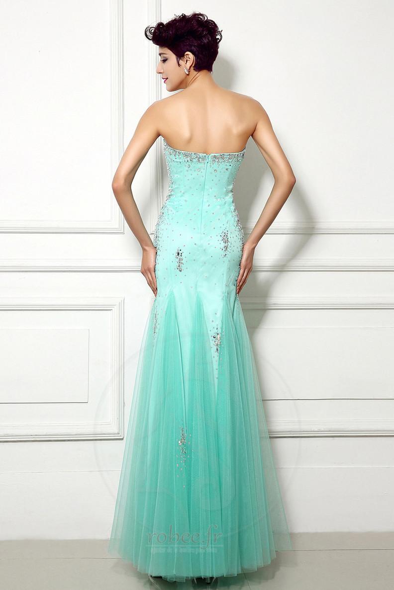 Robe de soirée Sirène Perle col coeur Elégant net Fermeture à glissière 2