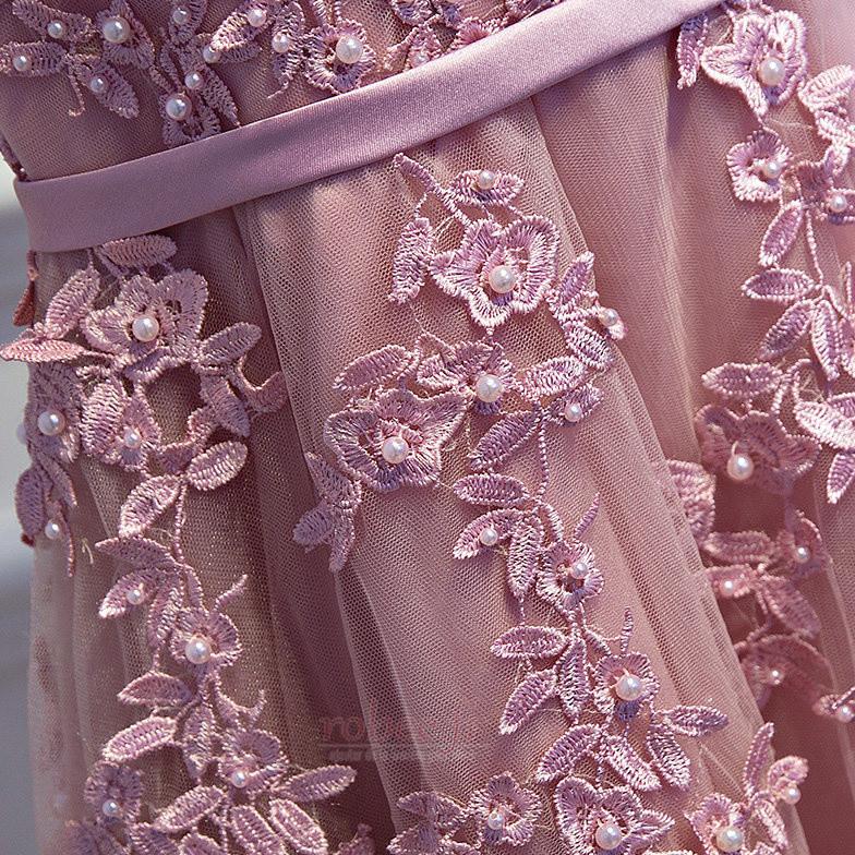 Robe de demoiselle d'honneur Drapé Scintillait a ligne Couvert de Dentelle 4