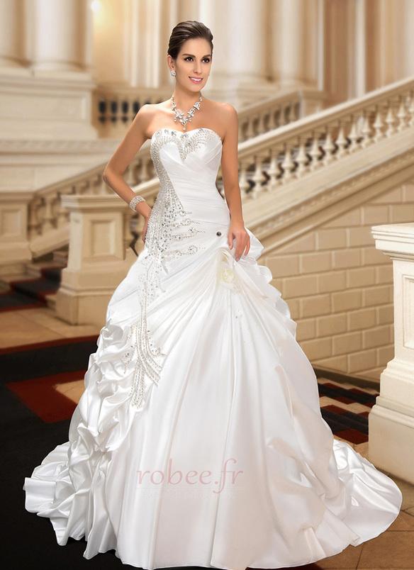 Robe de mariée Hiver Scintillait Princesse Asymétrique Satin 4