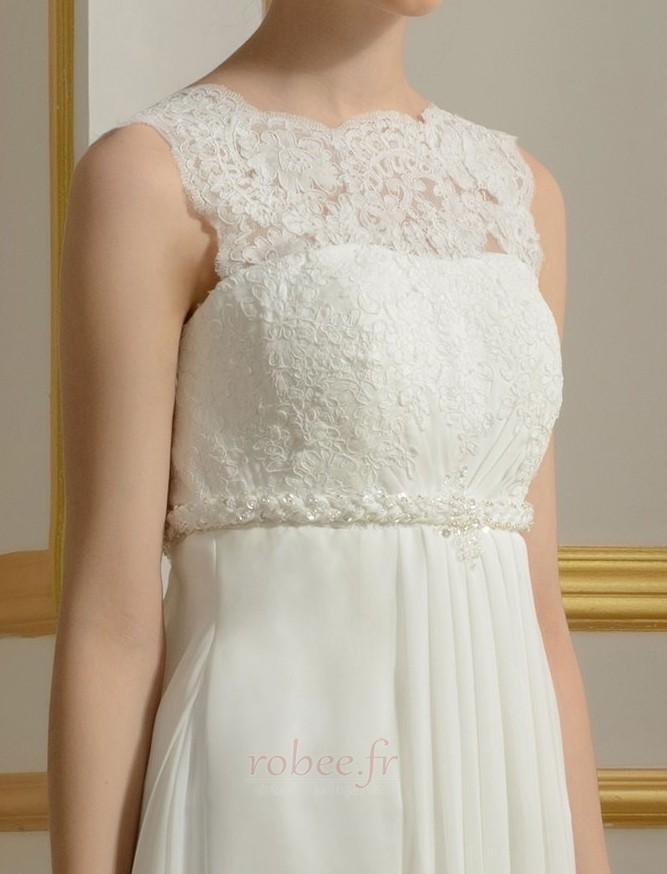 Robe de mariage Mousseline Empire Taille haute Couvert de Dentelle 6