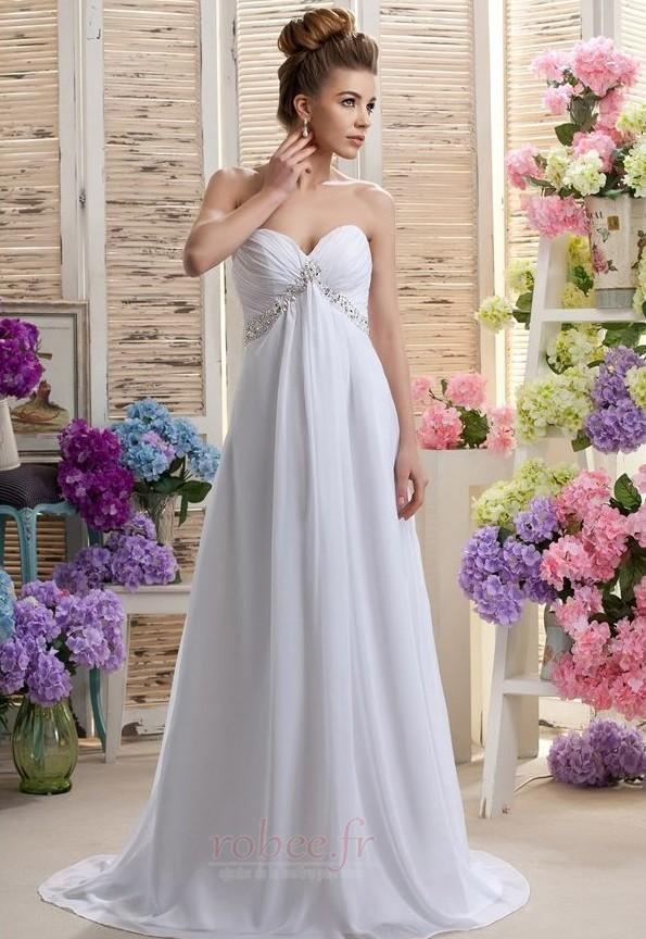 Robe de mariée Mousseline taille haute Médium Longueur de plancher 1