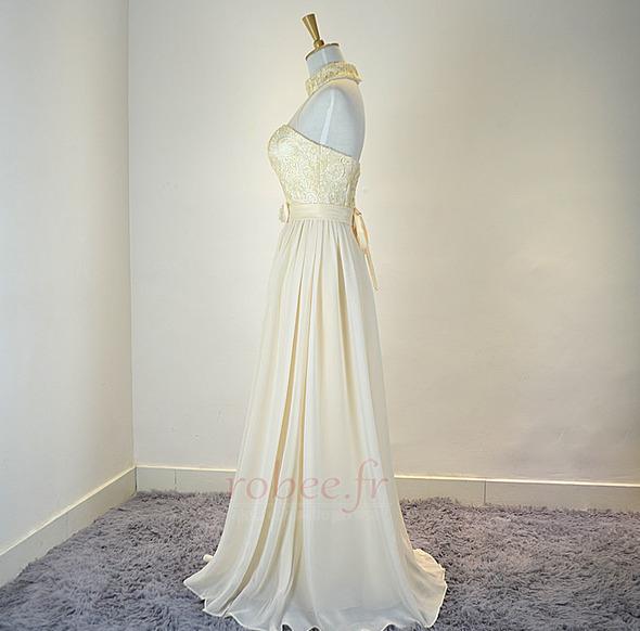 Robe de demoiselle d'honneur Mousseline Mariage Traîne Courte 3