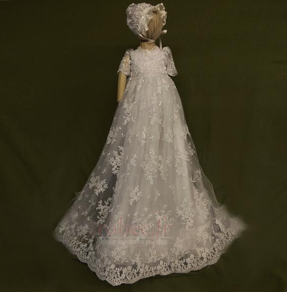 Robe de fille de fleur Cérémonie Bébé Dentelle Manche Courte 1
