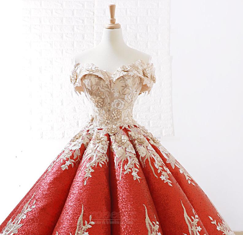 Robe de bal Rosée épaule Manche Courte Laçage À la masse Étoilé 5