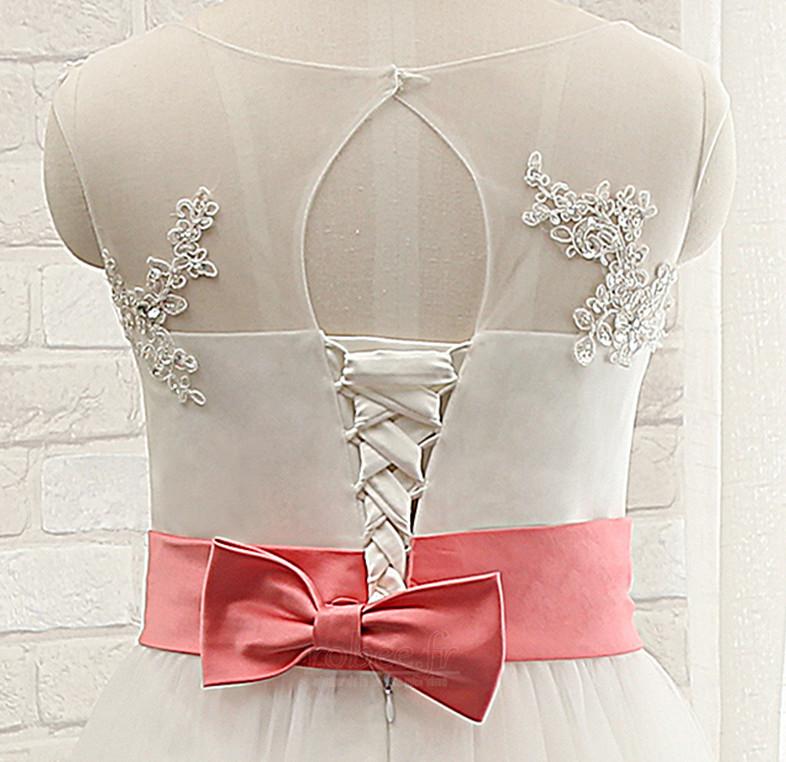 Robe de fille de fleur Sans Manches Col de chemise t Nœud à Boucles 4