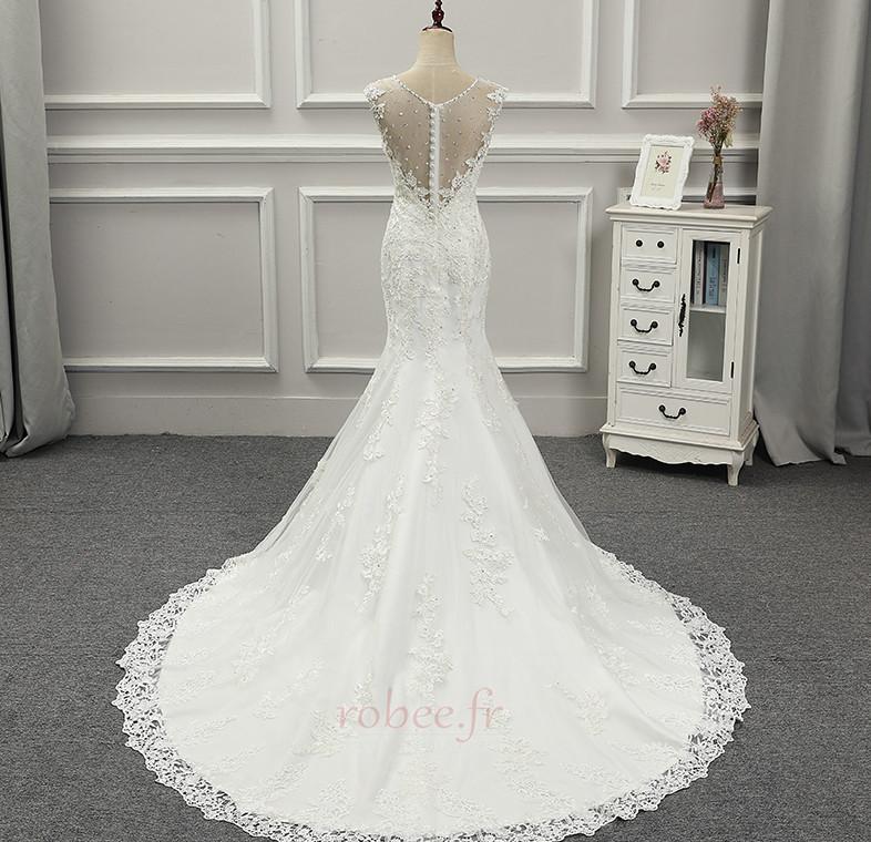 Robe de mariée Près du corps Automne Gaze Jardin Mince Chic Couvert de Dentelle 3