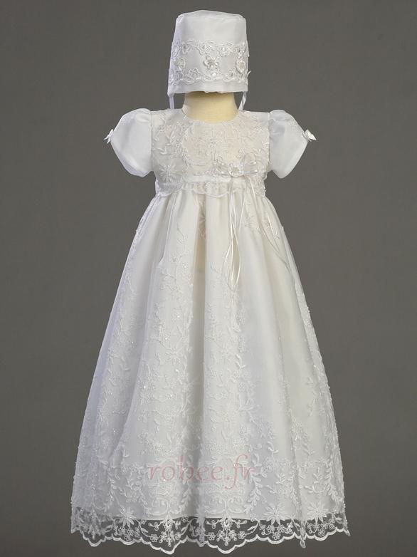Robe de fille de fleur Manche Courte Longue Bouton Fermeture à glissière 1