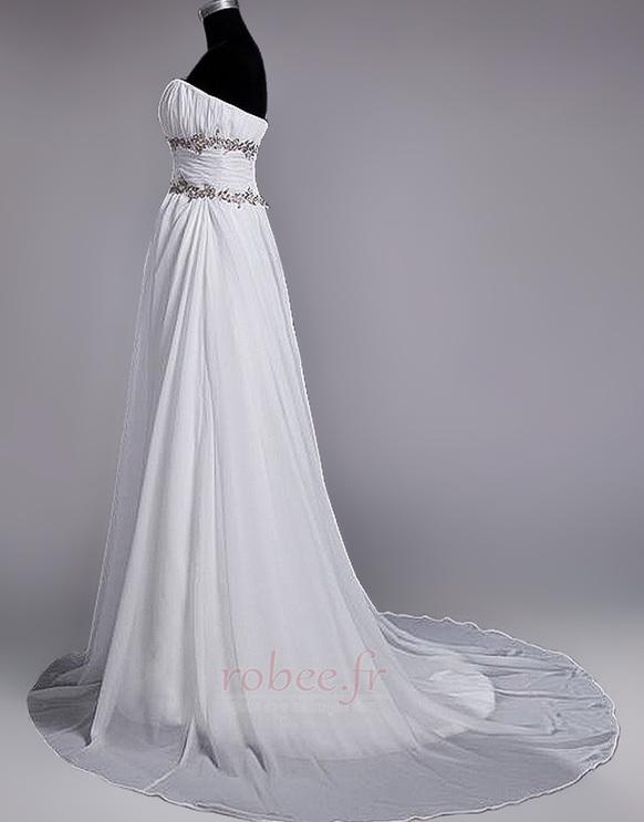 Robe de mariage Fourreau plissé Drapé Une épaule A-ligne Mousseline 3
