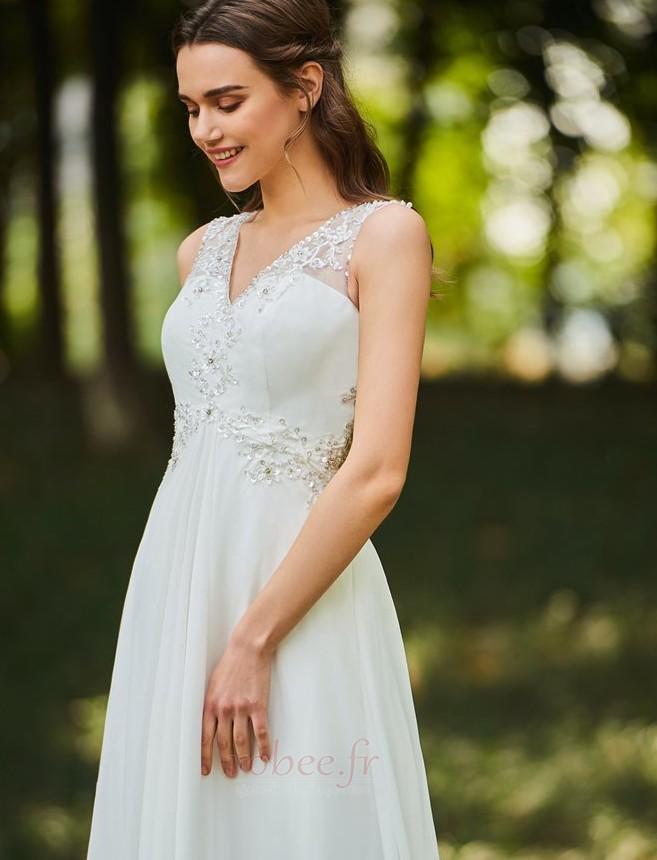 Robe de mariée Dos nu Col en V Drapé Sans Manches aligne De plein air 4