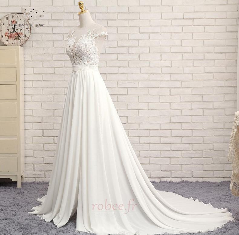 Robe de mariage Mousseline A-ligne Mancheron Automne Dentelle 5