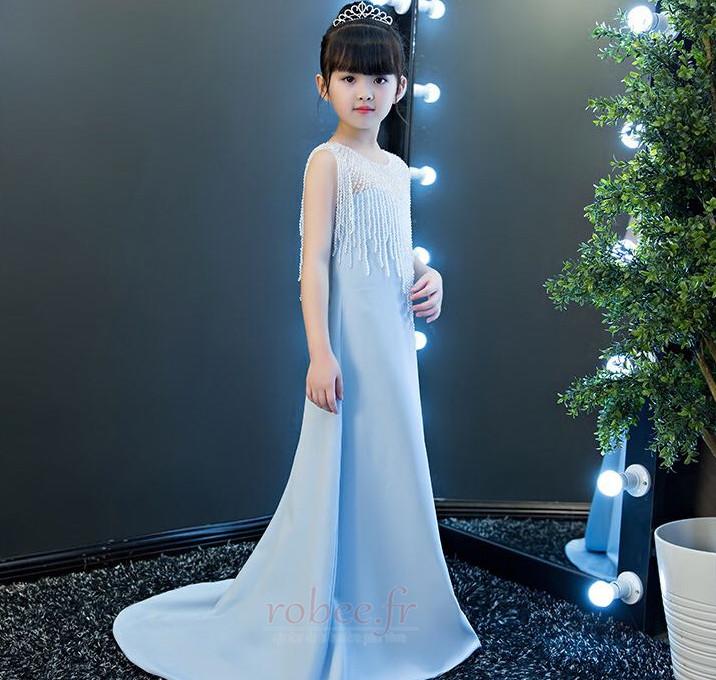Robe de fille de fleur Chic Sans Manches Fermeture à glissière 4