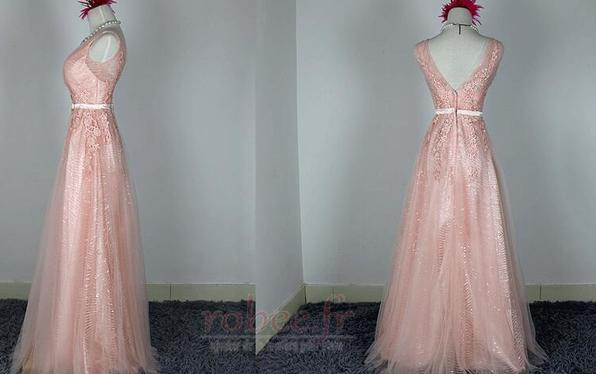 Robe de demoiselle d'honneur Chic A-ligne Glissière Rose Printemps 4