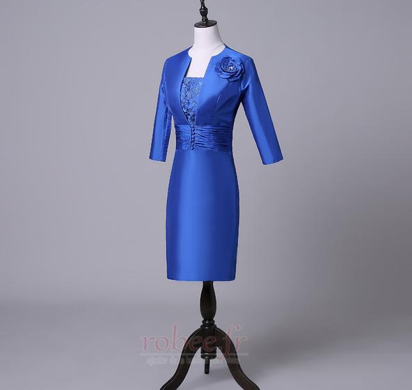 Robe mères Bleu Fer à cheval Fleurs Maigre Formelle Taffetas 3