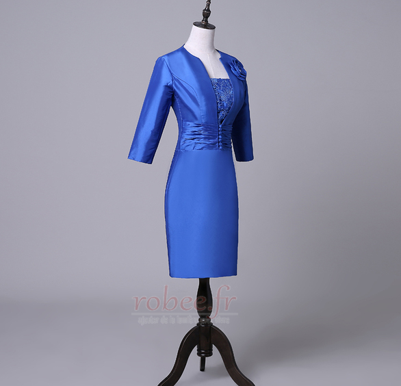 Robe mères Bleu Fer à cheval Fleurs Maigre Formelle Taffetas 4