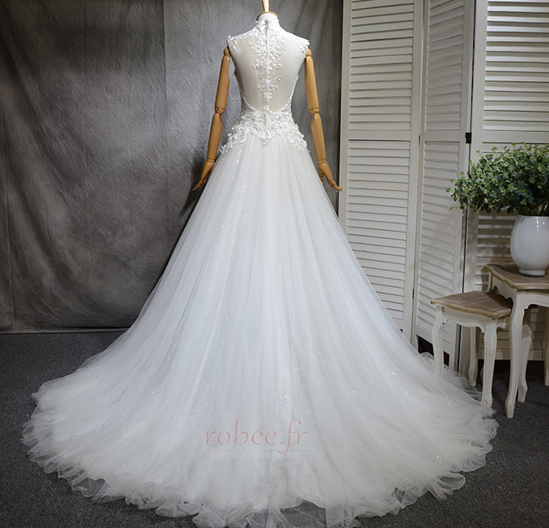 Robe de mariée Naturel taille Haute Couvert Satin A-ligne Manquant 3
