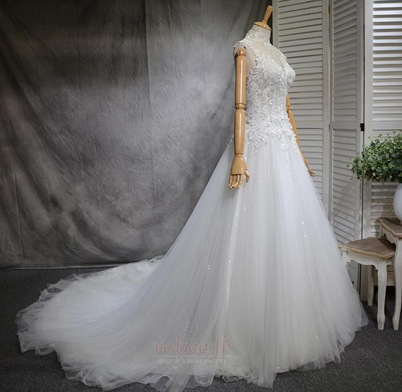 Robe de mariée Naturel taille Haute Couvert Satin A-ligne Manquant 2