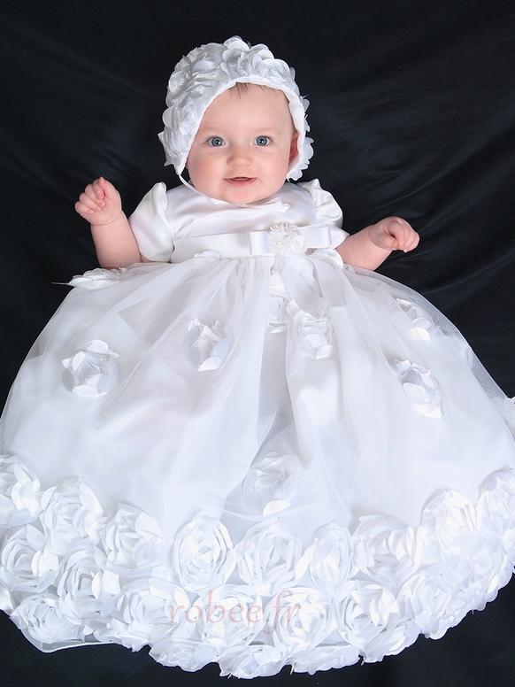 Robe de fille de fleur Blanche Manche de Bulle Longue Chapeau 2