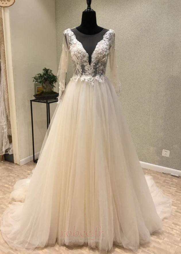 Robe de mariée Tulle Ample & Ornée Gaze Été Traîne Moyenne A-ligne 1