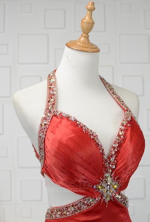 Robe de bal Dos nu Triangle Inversé Été Fourreau plissé Perle 4