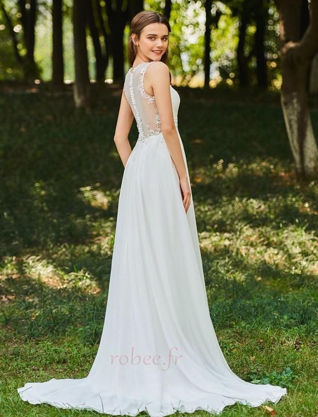 Robe de mariée Dos nu Col en V Drapé Sans Manches aligne De plein air 3