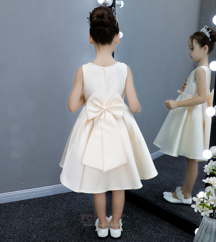 Robe de fille de fleur aligne Naturel taille Longueur de genou 3