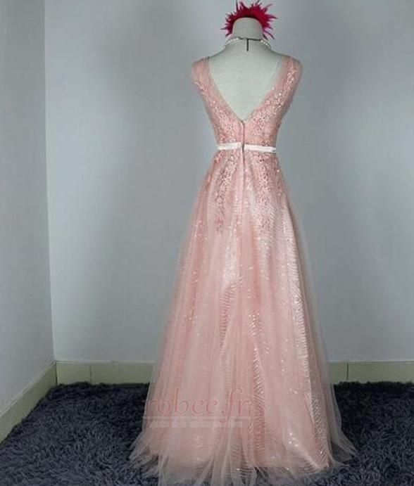 Robe de demoiselle d'honneur Chic A-ligne Glissière Rose Printemps 2