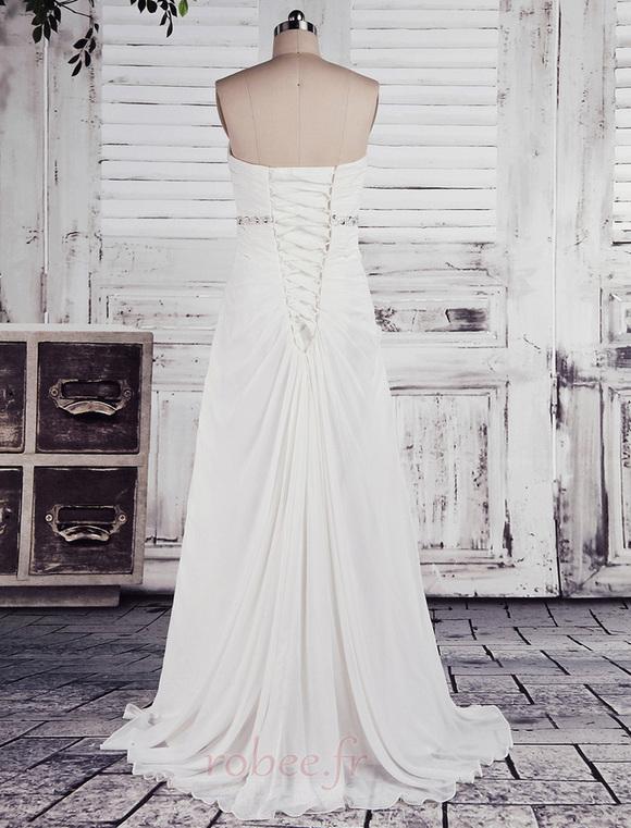 Robe de mariée Empire Longue Laçage De plein air Sans bretelles 3