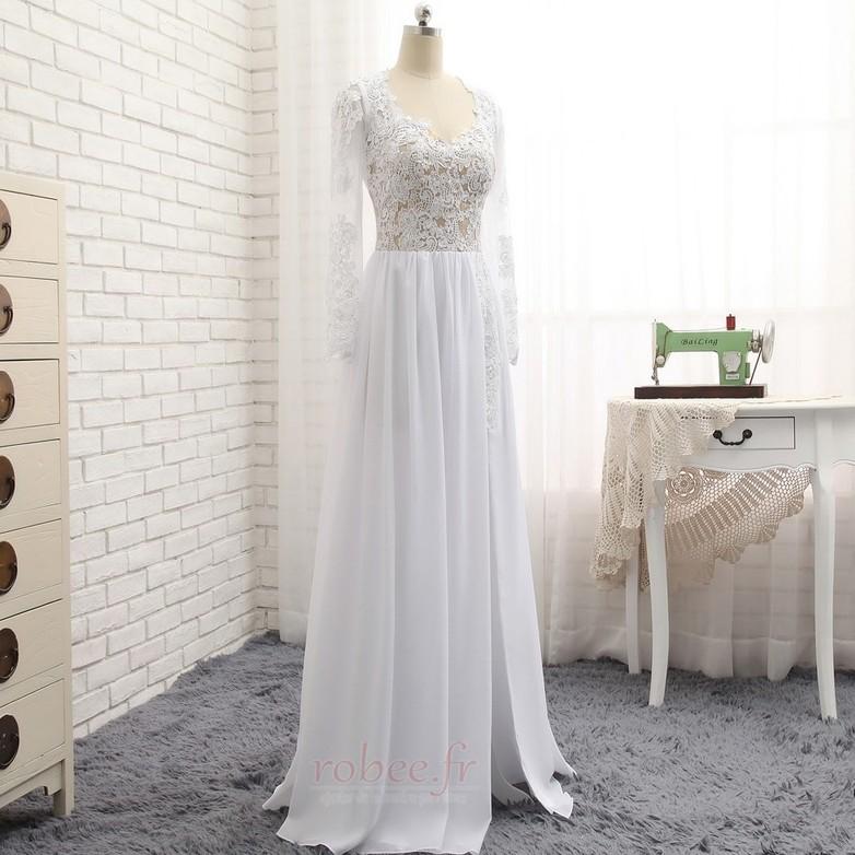 Robe de mariée A-ligne Longueur de plancher Manche Longue Plage 3