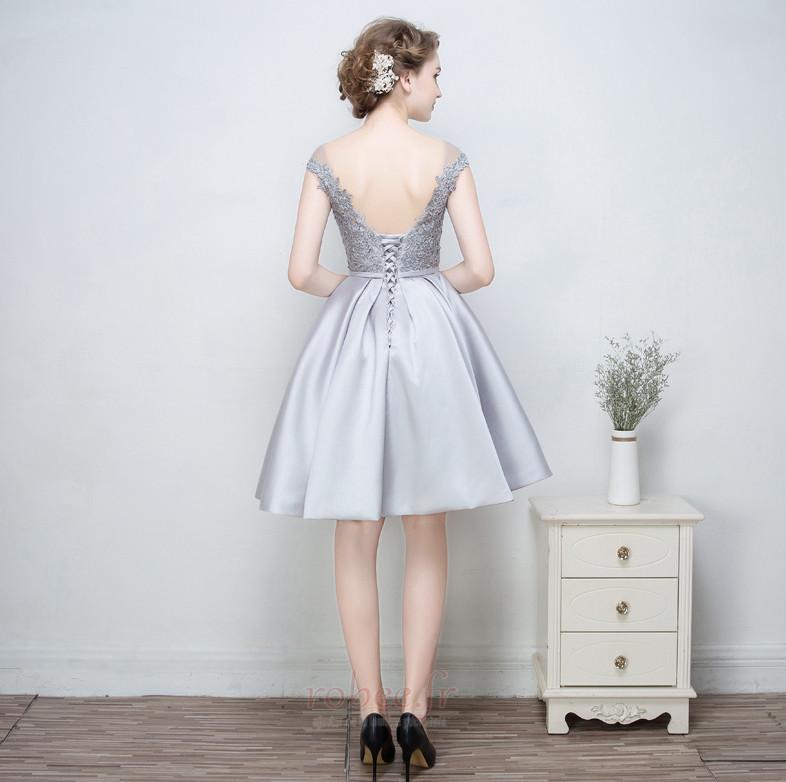 Robe de demoiselle d'honneur a ligne Mariage Sans Manches Appliquer 2