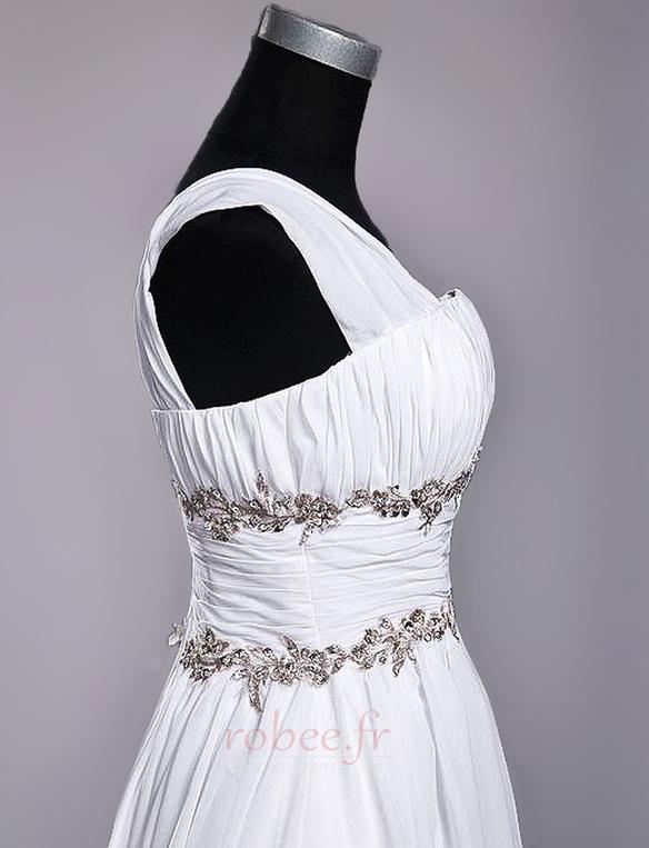 Robe de mariage Fourreau plissé Drapé Une épaule A-ligne Mousseline 6