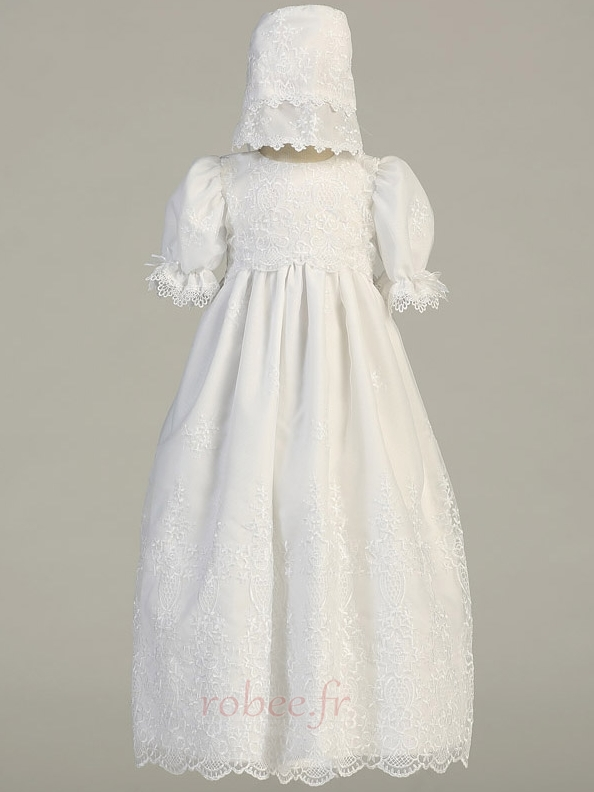 Robe de fille de fleur Cérémonie Longue Chapeau Blanche Naturel taille 1