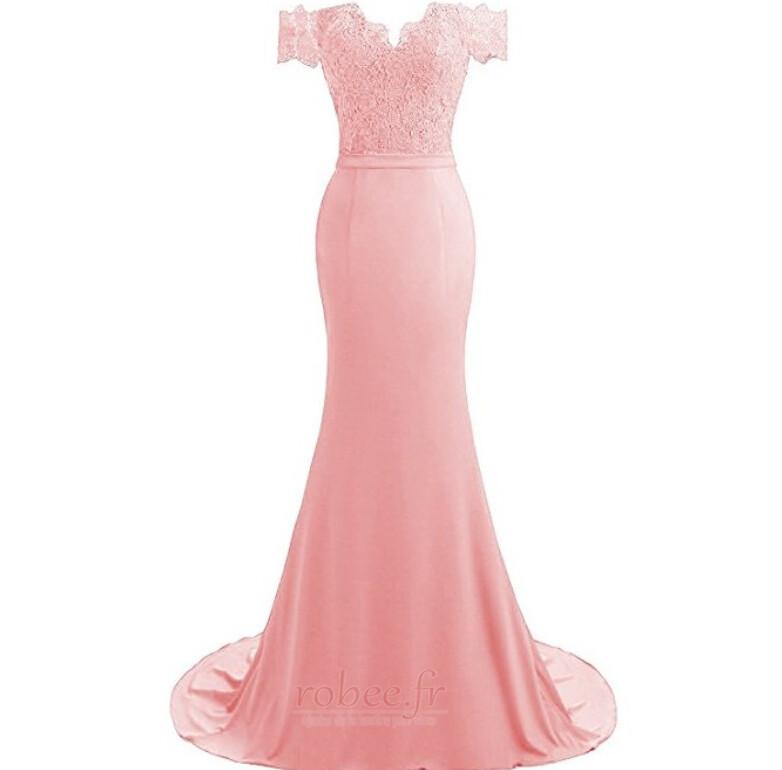 Robe de bal Printemps Sirène Rosée épaule Perler Manquant Dentelle 6