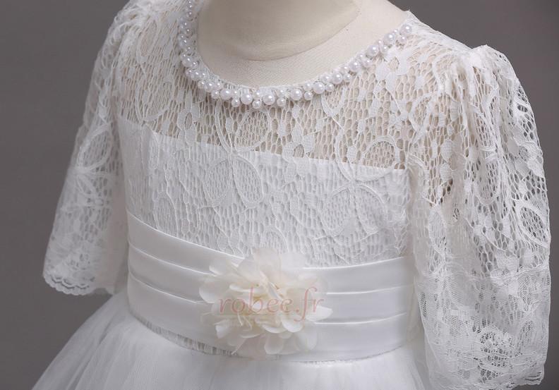 Robe de fille de fleur Manche Longue Pittoresque Dentelle Petit collier circulaire 8
