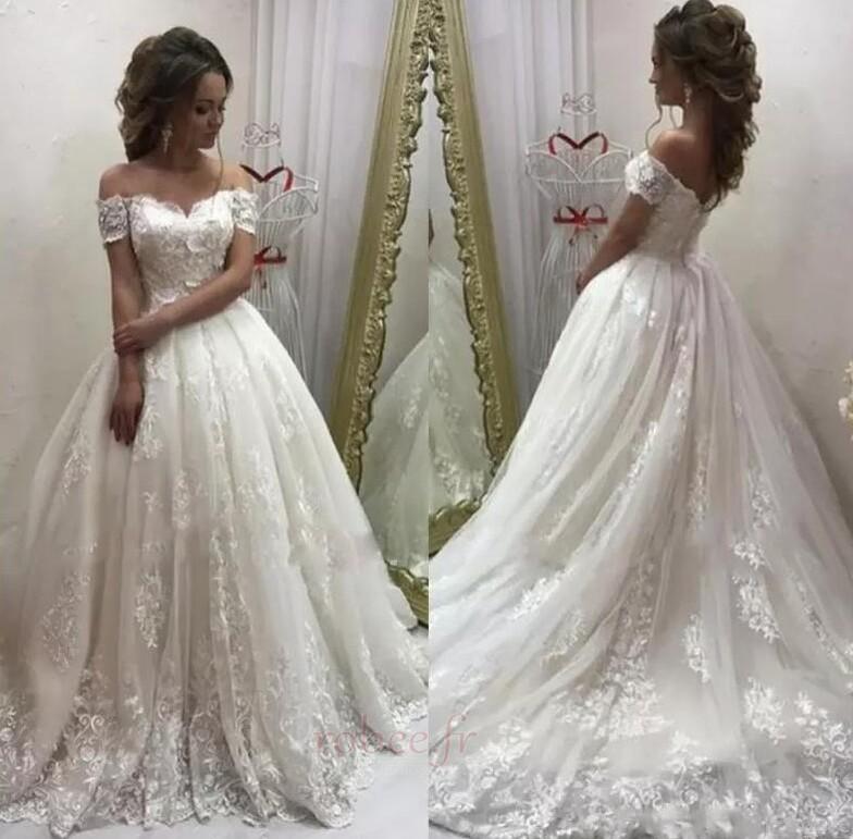 Robe de mariée Tulle A-ligne Manche Courte Cérémonial Appliquer 1