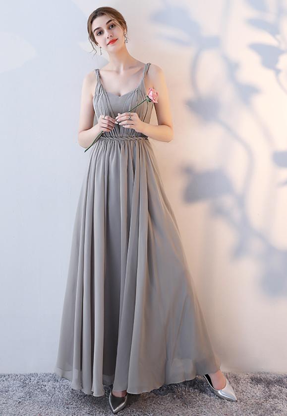 Robe de demoiselle d'honneur Laçage Sans Manches Mousseline A-ligne 5