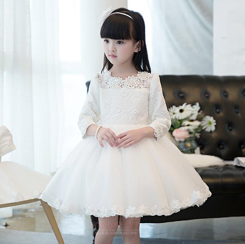 Robe de fille de fleur Manquant Été Dramatique Col de chemise t 3