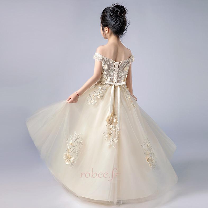 Robe de fille de fleur Nœud à Boucles Printemps Formelle Mariage 2