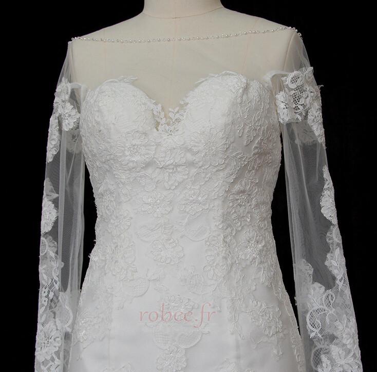 Robe de mariée Manche Longue Dentelle Eglise Col Bateau Formelle 3