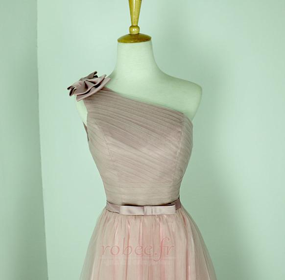 Robe de demoiselle d'honneur Rose Sans Manches Mariage Chic Nœud à Boucles 3
