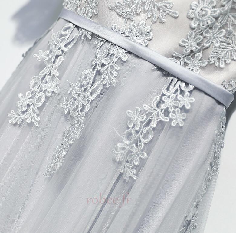 Robe de demoiselle d'honneur Manche Aérienne Festin Vintage Gaze 4